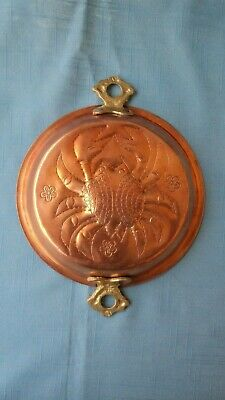 """Vintage Copper """"Crab"""" Mold With Brass Handles...6-1/2""""...Euc"""