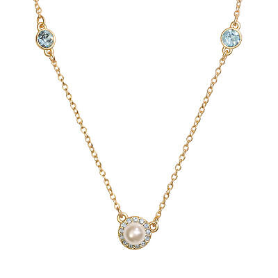 14K Gold Plated Glass Pearl Halo 3 Station Necklace, Made with Swarovski Crystal