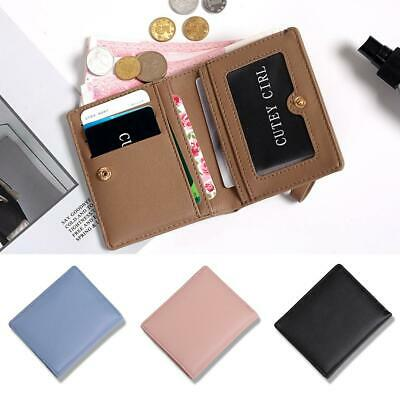 Women Solid Wallet Coin Bag Case Leather Simple Bifold Small Handbag Purse!