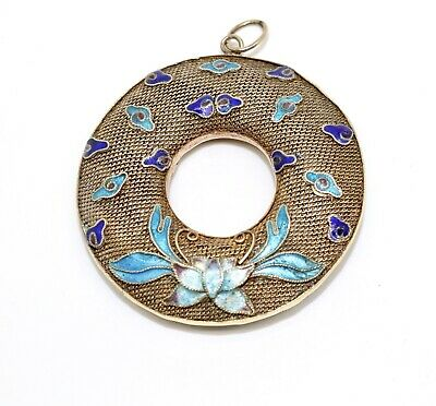 A Fine Antique Art Deco Chinese Sterling Silver 925 Enamelled Pendant #15454