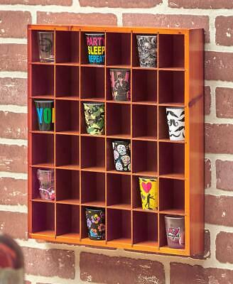 36 Shot Glass Display Case Collectibles Wall Mounted Wooden Rack Shelf NATURAL