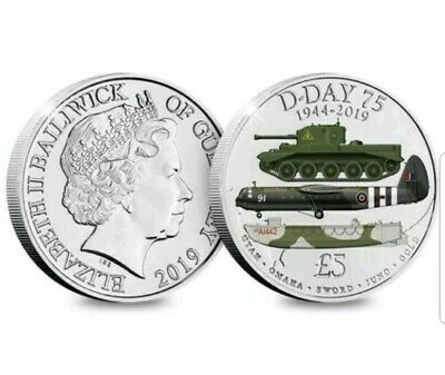 £5 D-DAY 75th ANNIVERSARY 1944 - 2019  Five Pound Coloured Coin BU Capsuled
