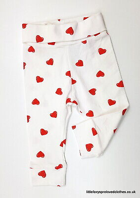 4-6 months H&M girls leggings trousers pants white red hearts soft