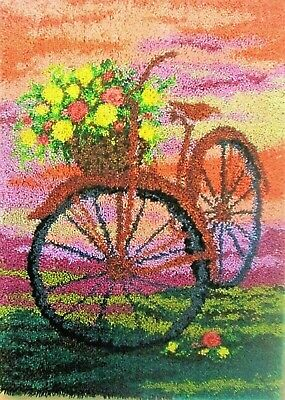 "Craftways Latch Hook Rug making kit   "" BICYCLE WITH FLOWERS"" Free uk postage"