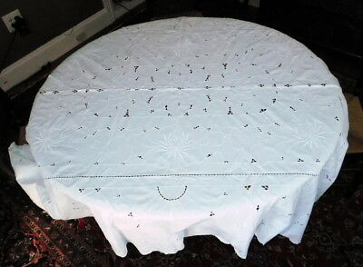 Antique Vintage Embroidered Cotton cut work hand made Tablecloth cotton linen