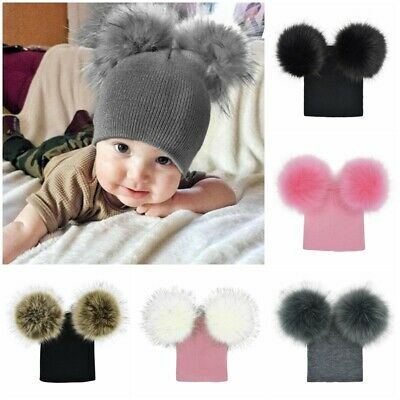 Baby Large Hat Pom Pom Bobble Ball Winter Warm Knitted Warm Boy Girl 0-12 Months
