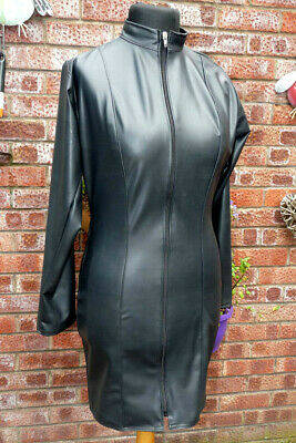 black latex mistress dress Uk 16 silky smooth rubber zip front long sleeve HH