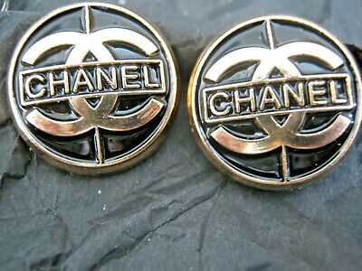 CHANEL  2 CC  LOGO BLACK, MATTE GOLD  19mm BUTTON THIS IS FOR TWO
