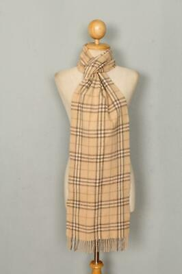 Genuine BURBERRY Begie Check Lambswool Scarf