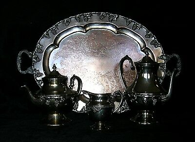 Antique Lehman Brothers Silver plated Grape Repousse Tea/Coffee