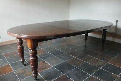 Lovely Antique Dark Wood Wind Out Dining Table - on Castors