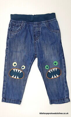 9-12 month BHS boys jeans trousers blue monsters comfy denim