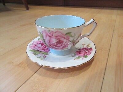 Aynsley Fancy Very Large Pink Roses Quatrefoil Cup & Flower Shaped Saucer