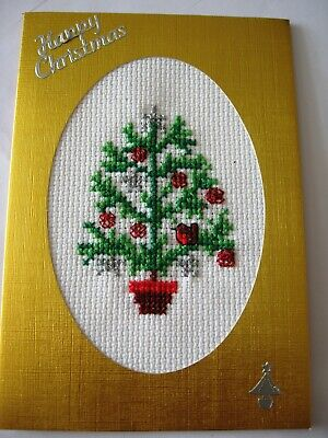Christmas Card Completed Cross Stitch Skeleton Tree  6X4""