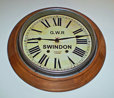 Great Western Railway GWR Victorian Style Wooden Clock, Swindon Station