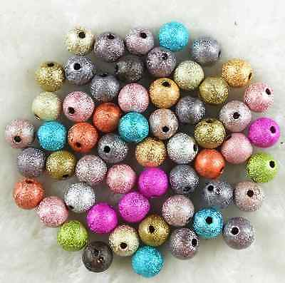 50Pcs 10mm Mixed Color Acrylic Stardust Metallic Glitter Spacer Loose Beads