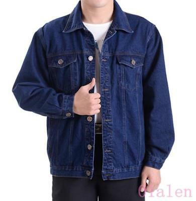 CY Spring Retro Mens Cowboy Lapel Single Breasted Denim Jackets Jean Coats Shirt