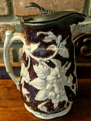 Antique T. Booth Hanley Syrup Pitcher Pewter Lidded English Stoneware 1Quart Jug