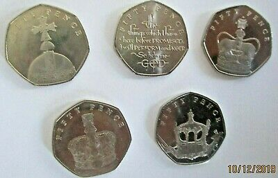 Isle of Man Sapphire Coronation Set of 50p coins  2018 - Circulated