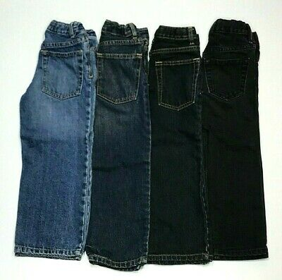 4 Pair Lot Boys 4-5 Denim Blue Black Jeans Pants Cherokee Gap Boot Straight GUC