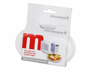 Microwave It Egg Poacher Poached Cooker White Plastic with Lid for Two Eggs
