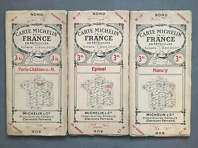 X3 Vintage Michelin French Maps Cartes