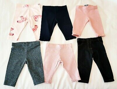 Baby Girls Leggings Clothes Bundle X 6 Pairs Age 3-6 Months, Next/M&S/Mothercare