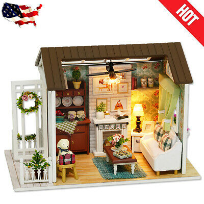 Dollhouse DIY Kit Wooden Miniature Furniture Doll House With LED Light & Music