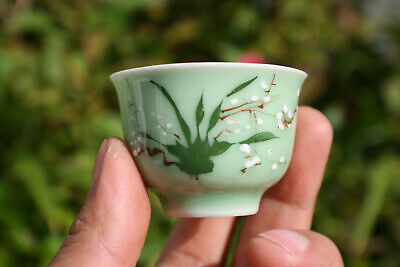 Antique Chinese Porcelain Hand Painted Light Green Small Cup - Marks