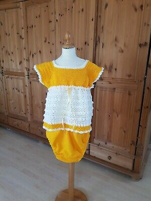 Adult Baby ANZUG DRESS handmade CROCHED ROMPER SUIT   2 Teilig Gr. L/XL