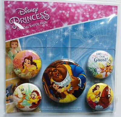 Disney Princess Beauty and the Beast Official Badges Pack - 5 Badges Set BNWT