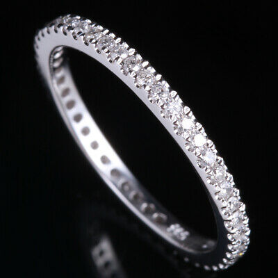 Artistical Engagement Natural Diamonds Solid 14K White Gold Wedding Band Ring