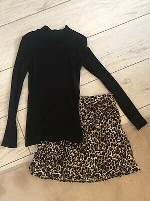 Girls Two Piece Leopard Print Outfit, Age 9-10 Years