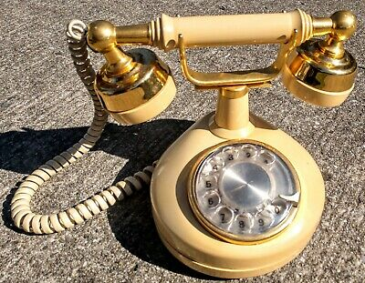 Vintage Ivory & Gold Victorian Princess Rotary Phone Western Electric Working