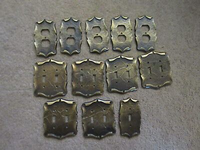 Vtg 12 Piece Lot AMEROCK CARRIAGE HOUSE Brass Switch Plate Outlet Covers