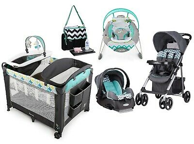 Baby Stroller with Car Seat Infant Smart Bouncer & Playard Travel Set Diaper Bag