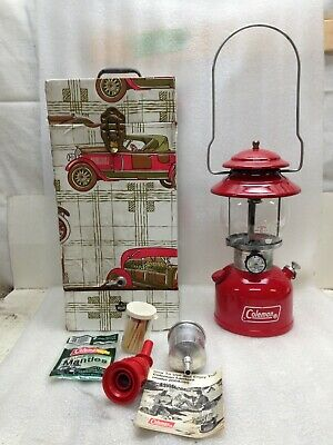 Clean Vintage Coleman 200A RED Gas Lantern 1977 Single Mantle With Extras Nice