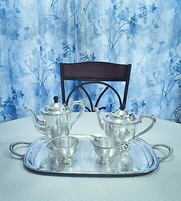 Viners LTD 5 piece Tea, Coffee Set with Waiters Tray, made in Sheffield, England