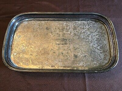 Large Oneida Silver Plated Footed Elegant Filigree Tray 19 OL USA