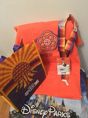 NWT Disney Parks Epcot 35th Anniversary T Shirt, Lanyard, Lanyard Pouch & Tote