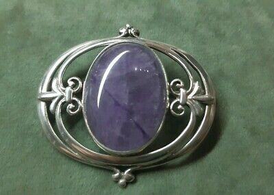 Scottish Solid Silver Brooch With Natural Amethyst