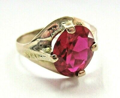 Beautiful Antique Solid 10K Yellow Gold Ring w/ Oval large Ruby sz7 unisex pinky