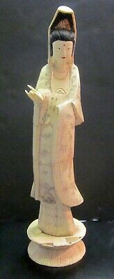 "Antique Chinese 20"" carved inlaid bovine bone statue figure. A Beautiful Woman."