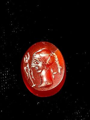finely carved antique carnelian intaglio royal lady with feather bead stamp