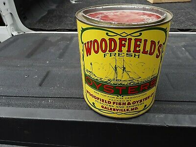 Vintage Woodfield Oyster Tin/Can with lid