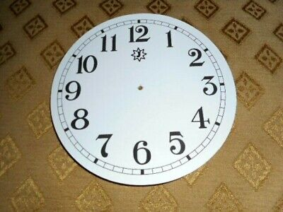 "Round Junghans Paper (Card) Clock Dial- 5"" M/T-GLOSS WHITE-Arabic -Parts/Spares"