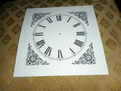 "Mantle/Shelf Paper (Card) Clock Dial - 5"" M/T-Corner Design - MATT WHITE - Parts"