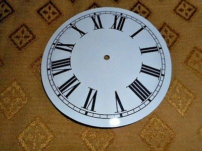 "Round Paper (Card) Clock Dial - 3 3/4"" M/T - Roman - GLOSS WHITE - Parts/Spares"