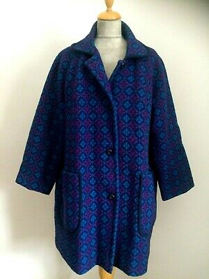 Vintage Ladies Welsh Wool Tapestry Jacket Coat   Size 18