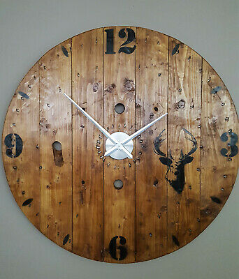 Exra Large 1m Industrial - Rustic - Farmhouse Cable Reel Drum Stag Wall Clock
